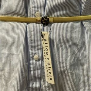 Alice Olivia elastic gold belt w/black rhinestones
